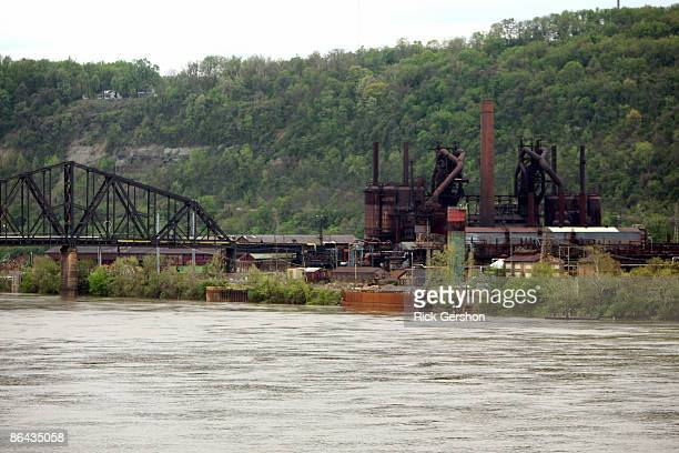The Severstal Wheeling North Works Steel Plant sits empty on May 5, 2009 on the edge of Steubenville, Ohio. The Severstal mill has halted production...