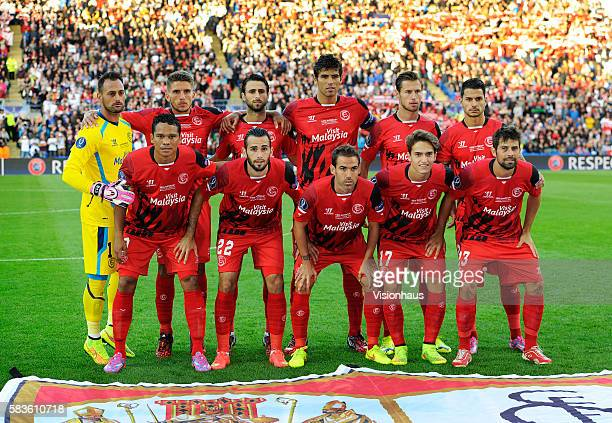 The Sevilla FC team group before the UEFA Super Cup Final between Real Madrid and Sevilla at the Cardiff City Stadium in Cardiff UK Photo...