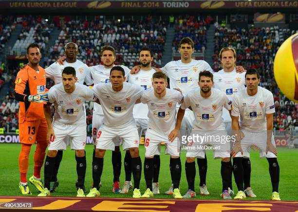 The Sevilla starting line up pose for a photo prior to the UEFA Europa League Final match between Sevilla FC and SL Benfica at Juventus Stadium on...