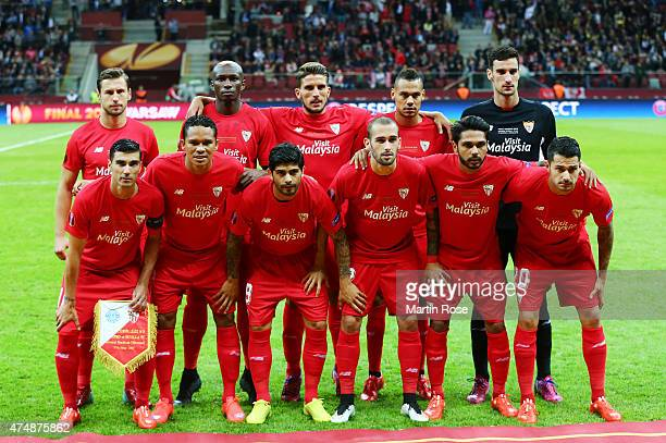 The Sevilla team line up during the UEFA Europa League Final match between FC Dnipro Dnipropetrovsk and FC Sevilla on May 27 2015 in Warsaw Poland