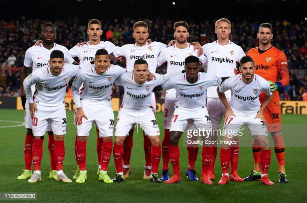The Sevilla team line up for a photo prior to kick off during the Copa del Rey Quarter Final second leg match between FC Barcelona and Sevilla FC at...