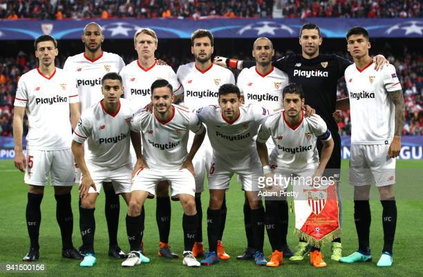 The Sevilla team line up prior to the UEFA Champions League Quarter Final Leg One match between Sevilla FC and Bayern Muenchen at Estadio Ramon...