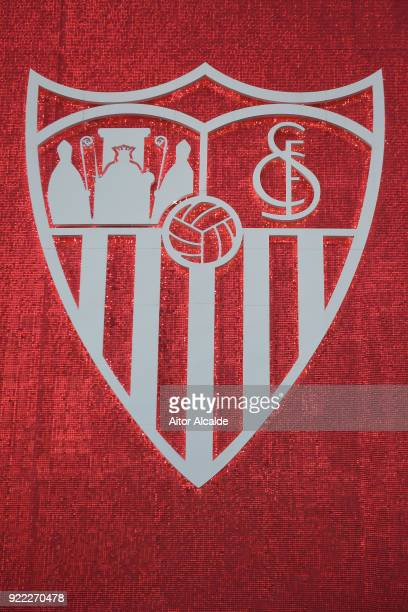 The Seville badge is seen on the outside of the stadium before the UEFA Champions League Round of 16 First Leg match between Sevilla FC and...