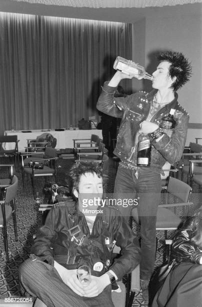 The Sex Pistols 10th March 1977 London Picture shows Johnny Rotten and Sid Vicious Picture taken 10th March 1977