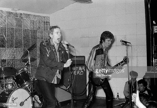 The Sex Pistols perform in Manchester on 18th December 1976 The lead singer is Johnny Rotten with Steve Jones on guitar and Paul Cook on drums