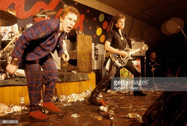 The Sex Pistols performing live onstage at Randy's Rodeo Nightclub San Antonio during final tour on January 08 1978 LR Johnny Rotten Steve Jones