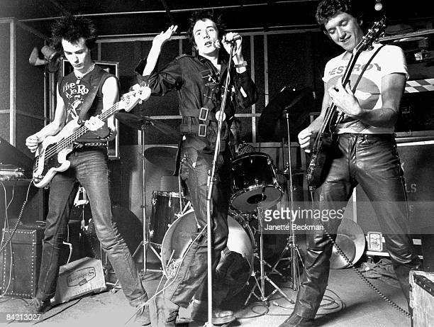 Sid Vicious Johnny Rotten Paul Cook and Steve Jones perform onstage in a London venue 1977