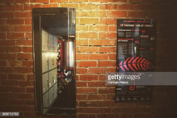 The 'Sex Workers' Safety Accord' hangs on the wall of the communal dressing room at The Bach an ethical escort service on October 19 2017 in...