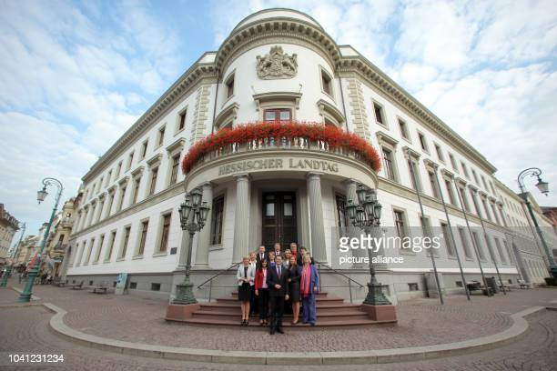 The shadow cabinet of the Hessian Social Democratic Party for the state parliament elections , Heike Habermann , Susanne Selbert , Guenter Rudolph ,...