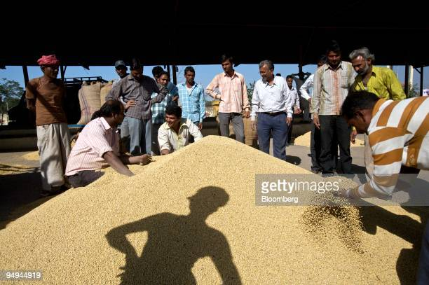 The shadow of a bidder falls on a pile of soy beans on sale at an auction in Dewas India on Wednesday Feb 11 2009 India relies on overseas purchases...