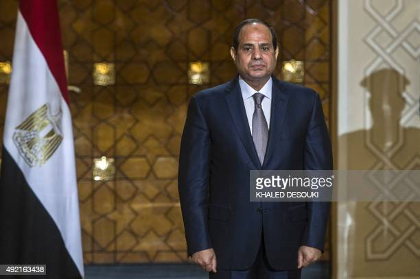 Egyptian president Abdel Fattah alSisi looks on during a ceremony to sign military contracts at the presidential palace on October 10 2015 in the...
