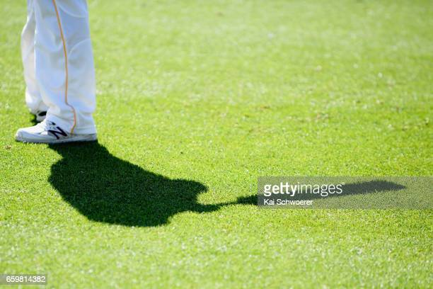 The shadow of a Cricket player is seen while batting during the Plunket Shield match between Canterbury and Wellington on March 29 2017 in...