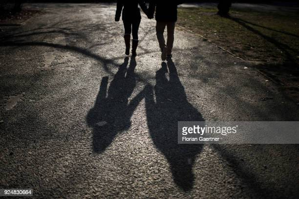 The shadow of a walking couple is pictured on February 25 2018 in Berlin Germany