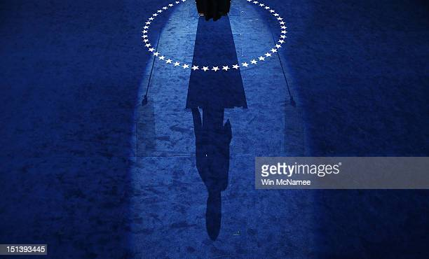 The shadow of Democratic presidential candidate US President Barack Obama as he speaks on stage as he accepts the nomination for president during the...