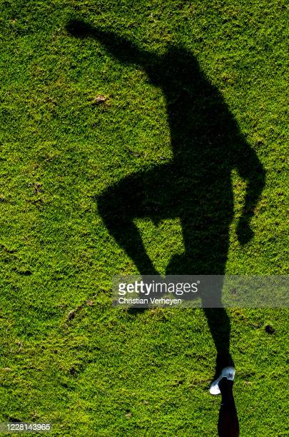 The shadow of Denis Zakaria is seen during a Training session at the Training Camp of Borussia Moenchengladbach at Klosterpforte on August 21, 2020...