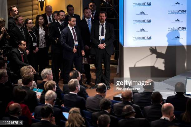 The shadow of German Chancellor Angela Merkel as she speaks during the Munich Security Conference on February 16 2019 in Munich Germany The 55th...