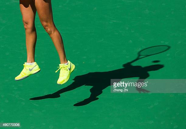 The Shadow of Roberta Vinci of Italy returns a shot during the match against Karolina Pliskova of Czech Republic on Day 5 of 2015 Dongfeng Motor...