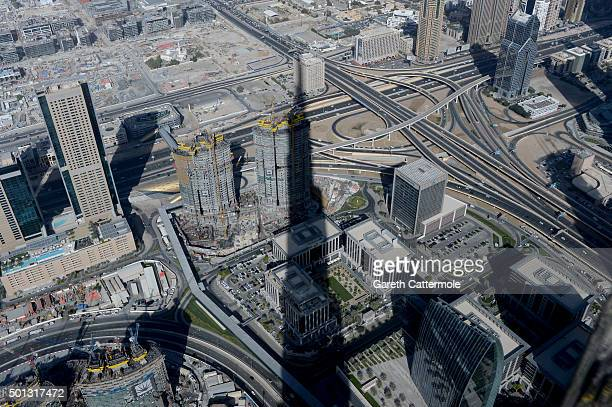 The shadow of the Burj Khalifa the world's tallest building viewed from 125 floors up during day six of the 12th annual Dubai International Film...