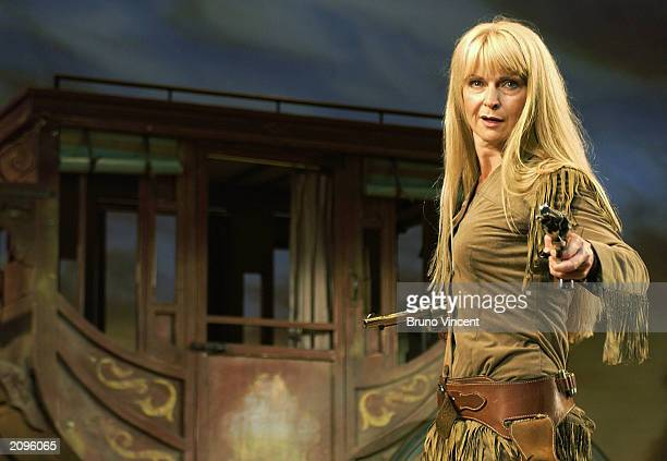 The Shadow of Toyah Willcox performs during in a photocall for Calamity Jane at Shaftsbury Theatre June 19 2003 in London United Kingdom
