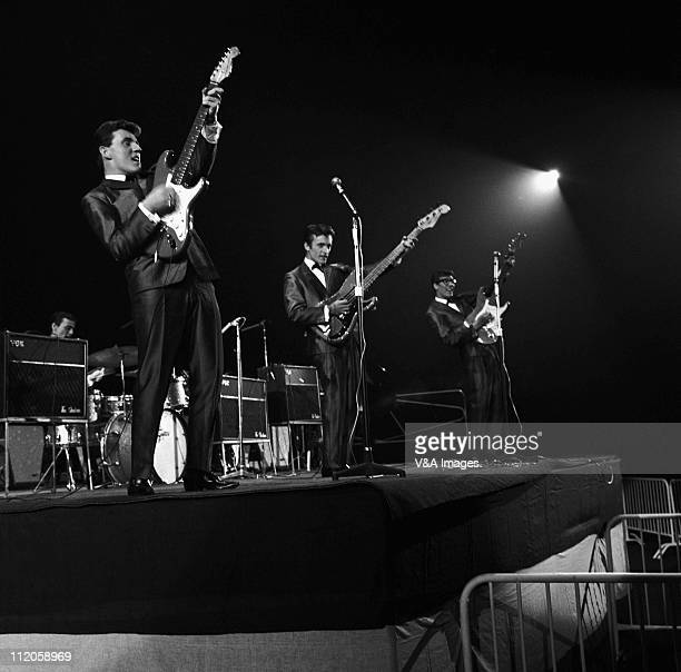 The Shadows Brian Bennett Bruce Welch Jet Harris Hank Marvin perform on stage at NME Poll Winners Concert 1962