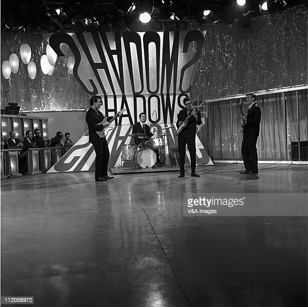 The Shadows Bruce Welch Brian Bennett Hank Marvin Brian Licorice Locking perform on a TV show 1962