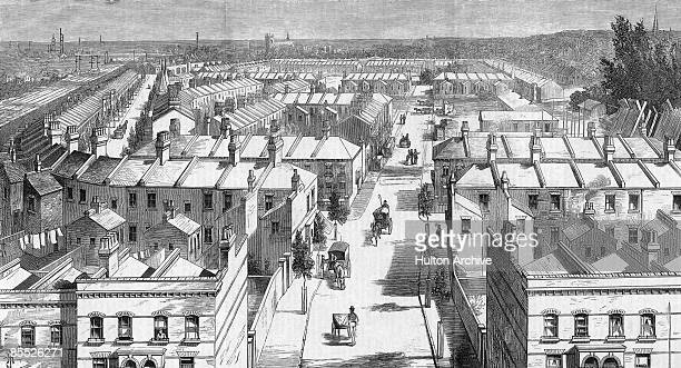 The Shaftesbury Park Estate in Lavender Hill Battersea south London 1874 It was founded by the 7th Earl of Shaftesbury in 1872 to accommodate working...