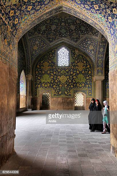 The Shah Mosque built in the XVIIth century standing in south side of Naghshi Jahan Square The mosque is decorated with blue yellow and green ceramic...