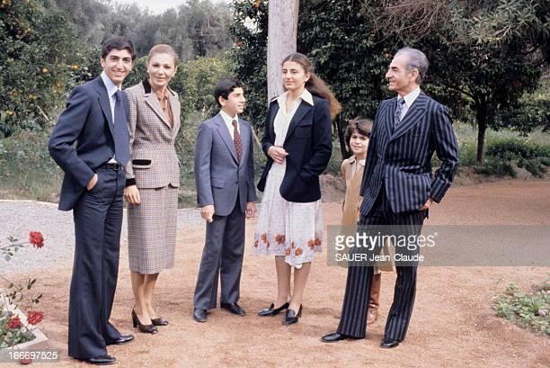 The Shah Of Iran And His Family In Exile In Morocco Marrakech 27 janvier 1979 Le Shah d'Iran Mohammad REZA PAHLAVI et son épouse Farah DIBA en exil...