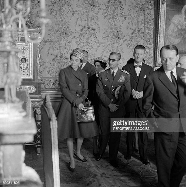 The Shah of Iran and Wife Farah Diba Visit the Château de Versailles with French Minister for Culture André Malraux in Versailles France on October...