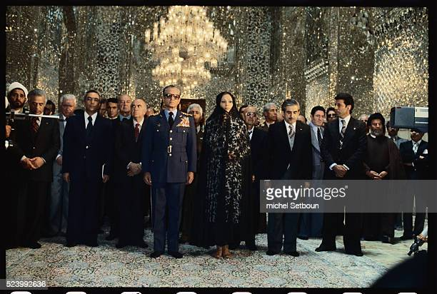 The Shah of Iran Empress Farah Diba and the rest of the Imperial family visit the Machad mosque