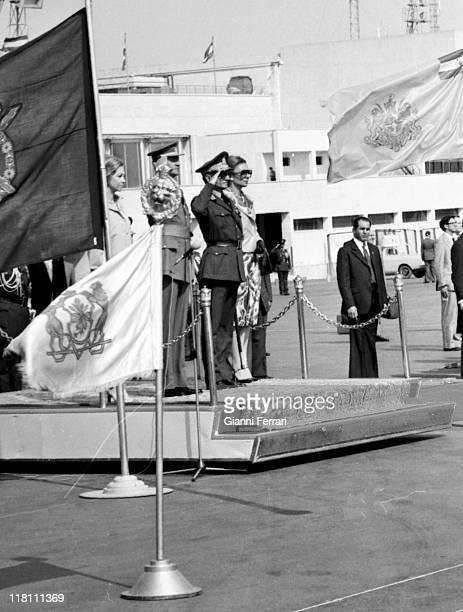 The Shah of Iran Mohammad Reza Pahlavi and his wife Farah Diba received at the airport the Spanish Kings Juan Carlos and Sofia in official visits...