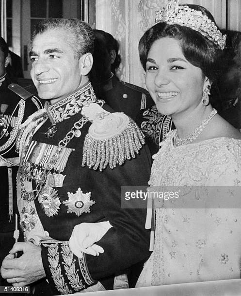 The shah of Iran Mohammed Reza Pahlavi and his wife Farah Diba are seen during their wedding ceremony in Teheran 21 December 1959 AFP PHOTO