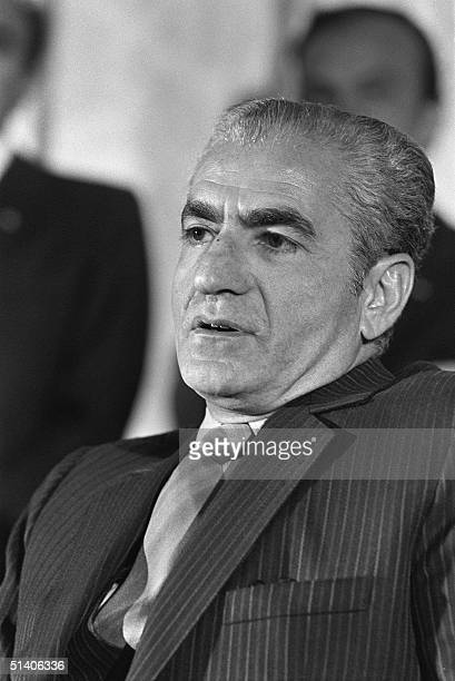 The shah of Iran Mohammed Reza Pahlavi is seen 17 October 1971 in Persepolis during an official dinner held under a tent on the occasion of the...