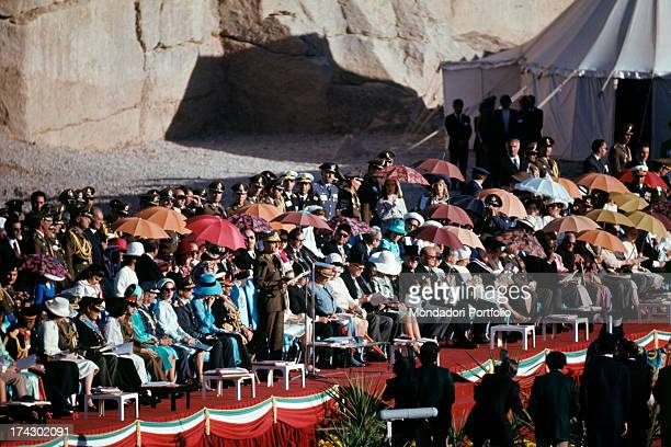 The Shah of Persia Mohammed Reza Pahlavi give a speech during the celebration of the 2500th anniversary of the Persian Empire Persepolis October 1971