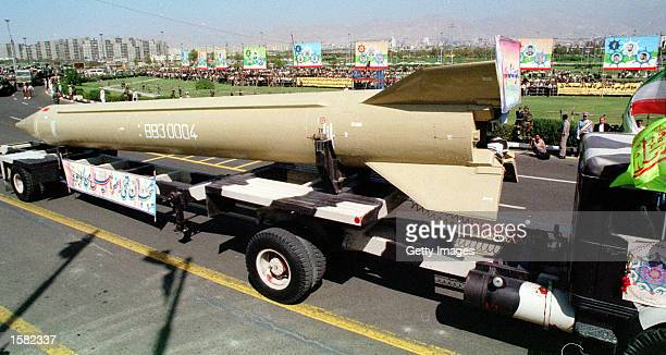 The Shahab 3 missile is introduced during a military parade November 1 2002 in Tehran Iran Iran's missile program is creating worries for US...