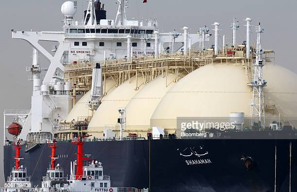 The Shahamah liquefied natural gas tanker is berthed at Tokyo Electric Power Co's Futtsu gasfired thermal power plant in Futtsu Chiba Prefecture...