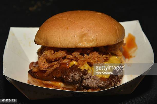 The Shake Shack burger on display at the Blue Moon Burger Bash presented by Pat LaFrieda Meats hosted by Rachael Ray at the Food Network & Cooking...
