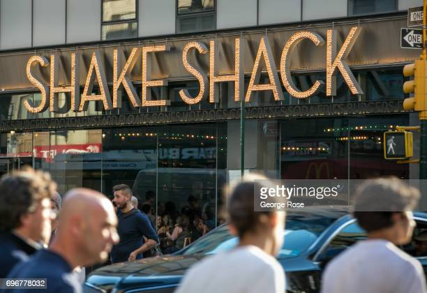 The Shake Shack on 8th Avenue near Times Square is viewed on June 10, 2017 in New York, New York. With a full schedule of conventions and major...