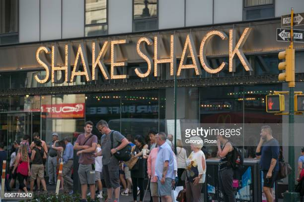 The Shake Shack on 8th Avenue near Times Square is viewed on June 10 2017 in New York New York With a full schedule of conventions and major sporting...
