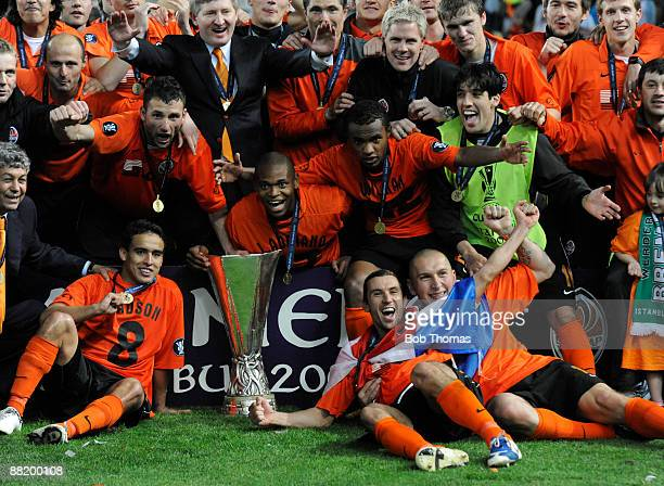 The Shakhtar Donetsk team celebrate with the trophy after victory in the UEFA Cup Final between Shakhtar Donetsk and Werder Bremen at the Sukru...