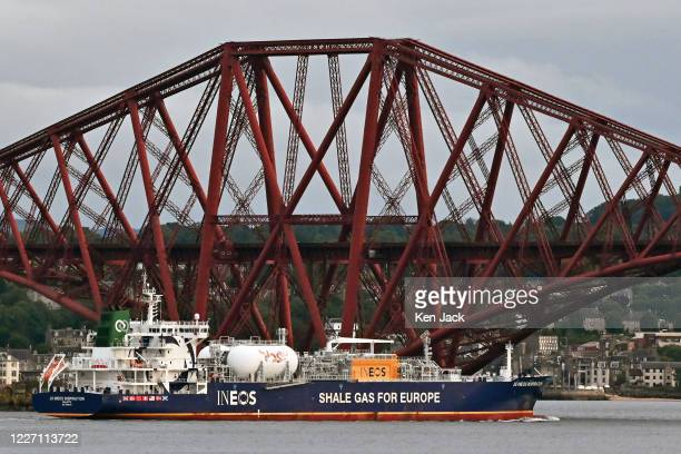 The shale gas tanker J S Ineos Inspiration passes under the Forth Bridge en route to Grangemouth as concerns arise over the effect on EU and...