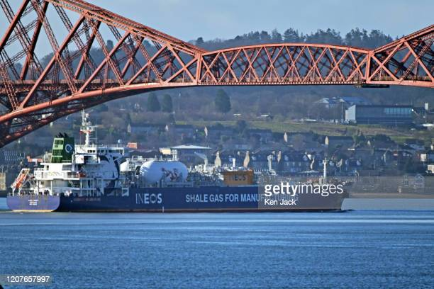 The shale gas tanker JS Ineos Insight sails under the Forth Bridge en route from Houston, Texas, to the Ineos petrochemical plant at Grangemouth, as...