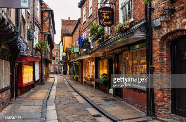the shambles in historic york, england - york yorkshire stock pictures, royalty-free photos & images