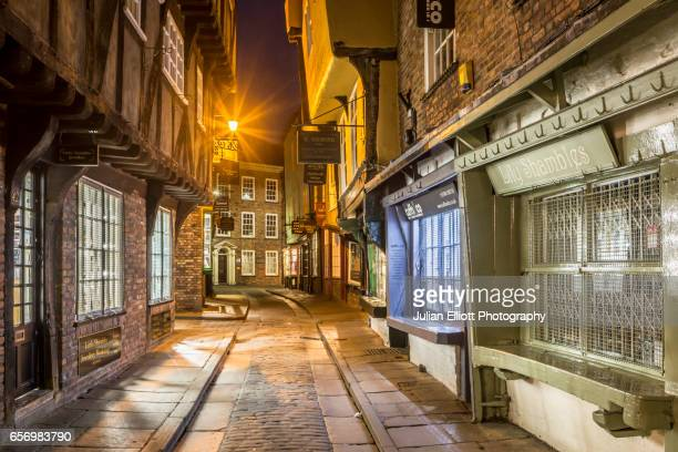 the shambles in the city of york, uk. - york yorkshire stock photos and pictures