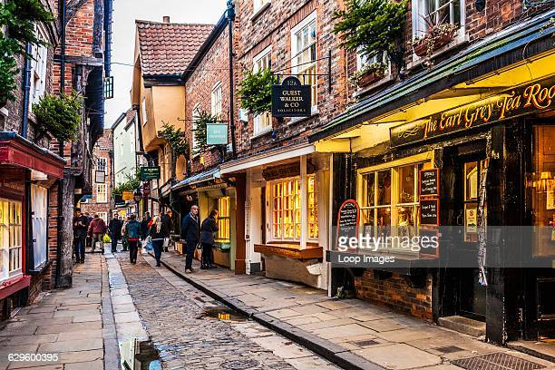 The Shambles which is the medieval street in the old city centre of York at twilight York England
