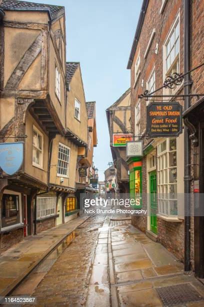 the shambles, york, uk. - british culture stock pictures, royalty-free photos & images