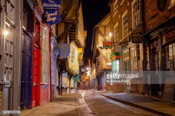 the shambles, york, yorkshire, united kingdom - york yorkshire stock pictures, royalty-free photos & images