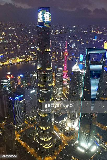 The Shanghai Tower operates a light show shining the word 'eternity' in Chinese on August 21 2016 in Shanghai China World's second highest building...