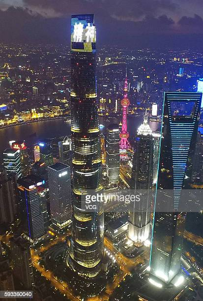 The Shanghai Tower operates a light show shining the word 'spirit' in Chinese on August 21 2016 in Shanghai China World's second highest building the...