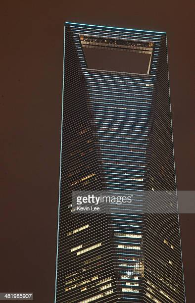 the Shanghai World Financial Center building is lit up blue for Autism Awareness and Autism Speaks on April 2 2014 in Macau Macau